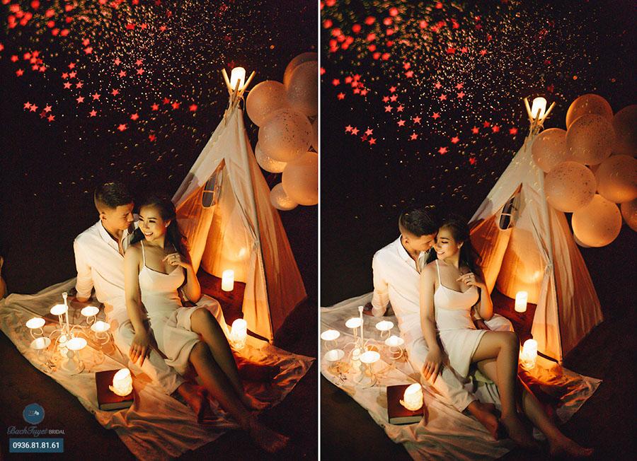 Ảnh cưới cắm trại bên bờ biển